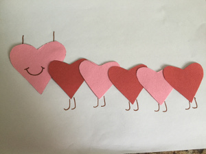 making caterpillar valentine craft