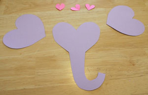 elephant valentine craft cut pieces