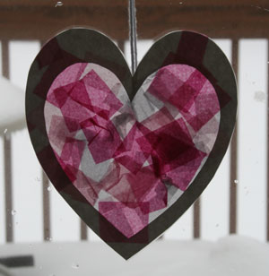valentines day tissue paper heart craft