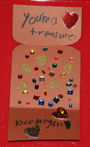 treasure chest valentine craft inside card
