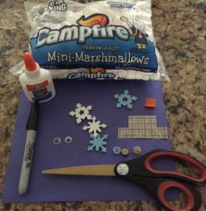 marshmallow snowman craft materials