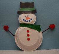 Snowman Paper Plate Christmas Crafts