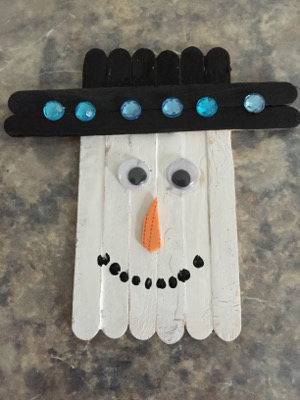 popsicle stick snowman magnet craft