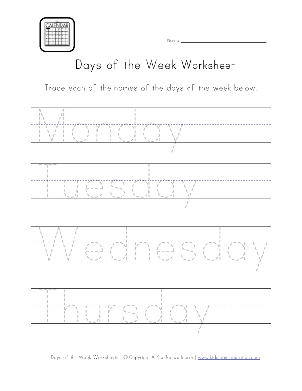 days handwriting worksheet