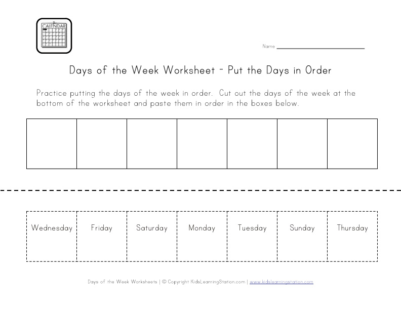 days in order worksheet
