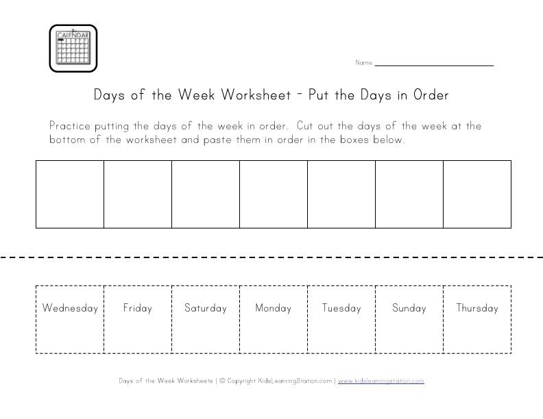 English worksheet: Cut & Paste Days of the Week | Kids Chore ...