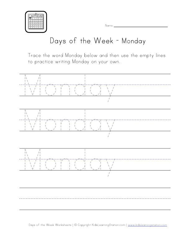 monday worksheet