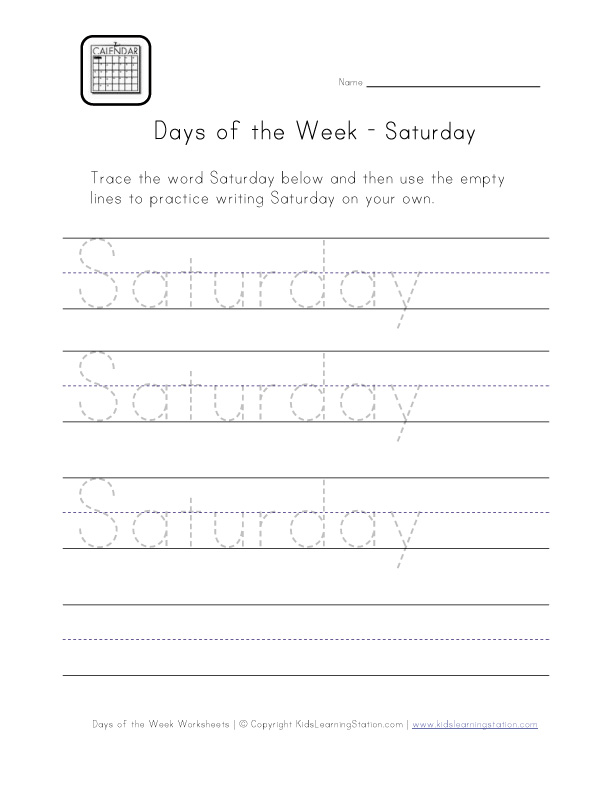 saturday worksheet