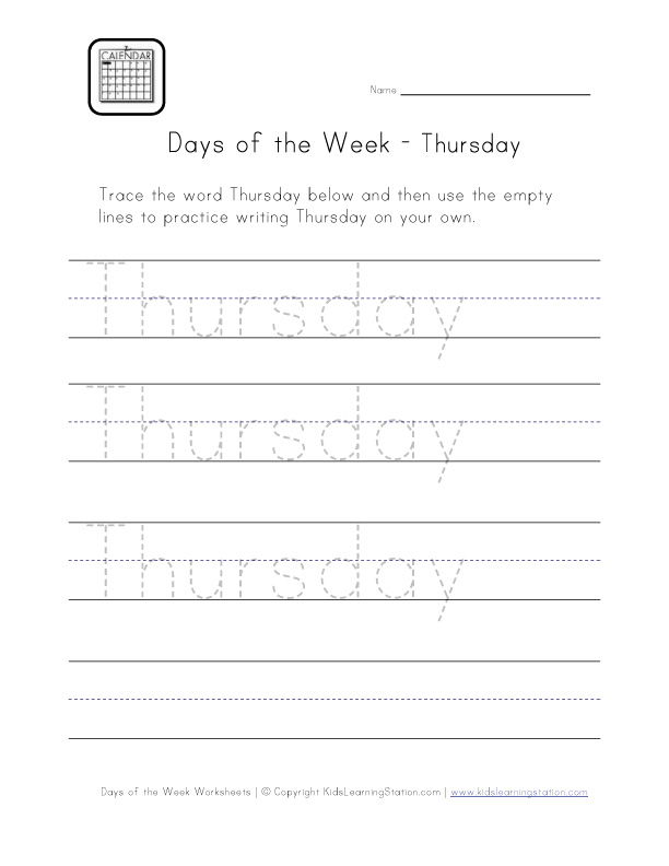 thursday worksheet
