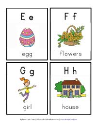 alphabet flash cards e through h