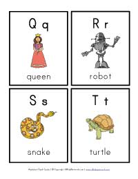 letter flash cards q - t
