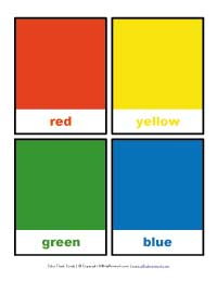 color flashcards - red, yellow, green and blue
