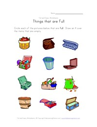 math worksheet : full and empty worksheets for kids  kids learning station : Capacity Worksheets For Kindergarten