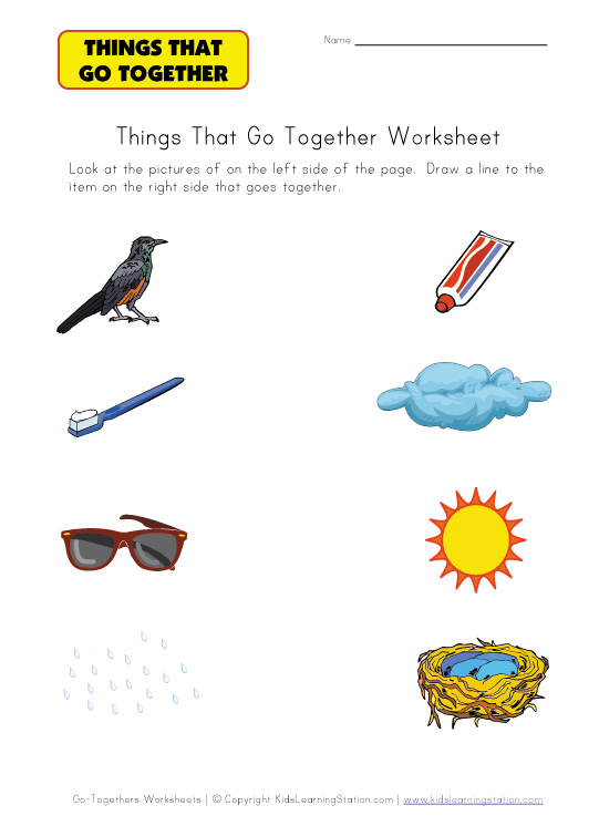 Matching Things That Go Together Worksheets | Kids Learning Station