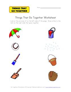 math worksheet : matching go togethers worksheet 3  kids learning station : Matching Worksheet For Kindergarten