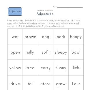 Similiar First Grade Adjective Word List Keywords