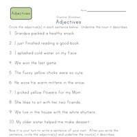 2nd grade circle the adjectives worksheet