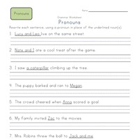 2nd grade pronouns in sentences worksheet