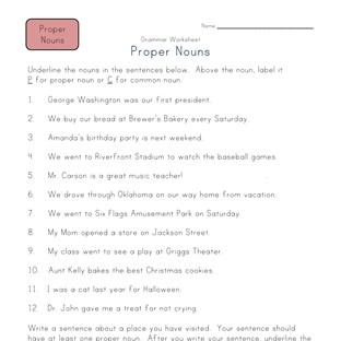 Common nouns worksheet 3rd grade