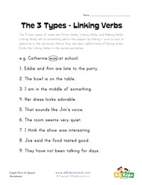 Linking Verb Worksheets | Kids Learning Station