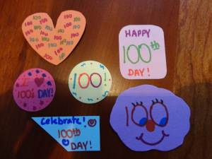 100th day of school stickers craft