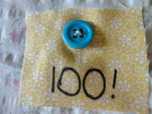 sewn button on fabric
