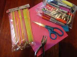 birthday straws craft materials