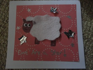 homemade sheep greeting card