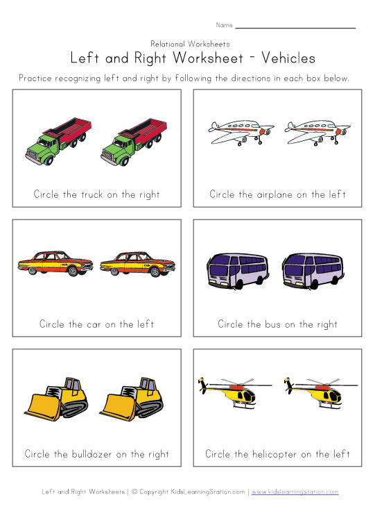 left or right worksheet vehicles