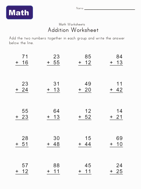 addition worksheet without carrying 5