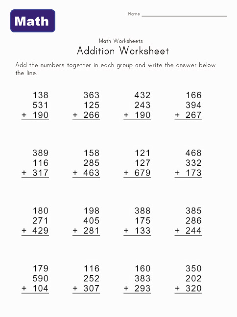 Printables Math Addition Worksheets Printable printing math worksheets worksheet printable version sheets division printables addition problems