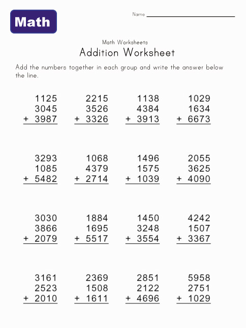 Math Help - Addition Worksheets | Kids Learning Station