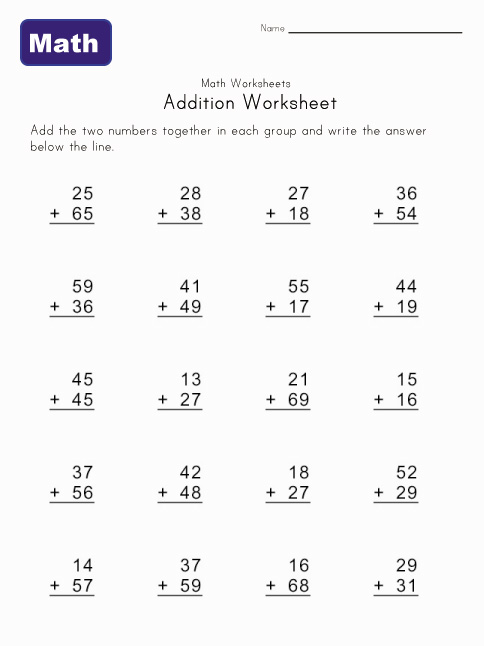 addition worksheet with carrying 5