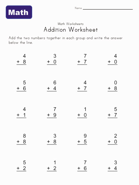 simple addition worksheet 5