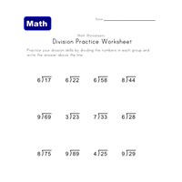 division worksheet with remainders 6