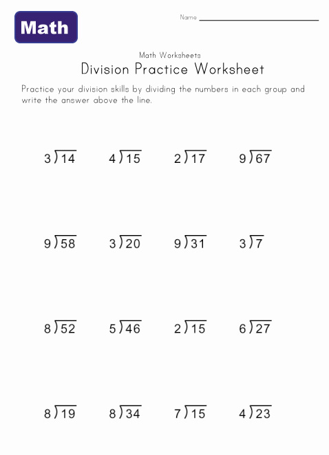 division worksheet three with remainders