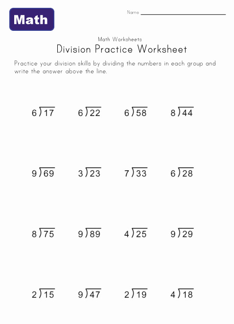 division worksheet six with remainders