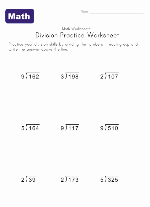 Easy Long Division Worksheets Division practice worksheet