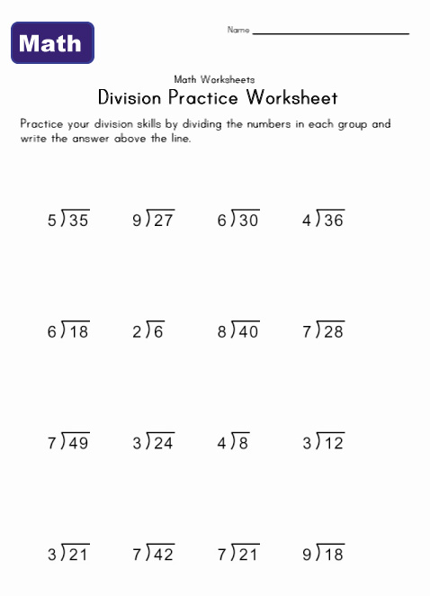 simple division worksheet 3