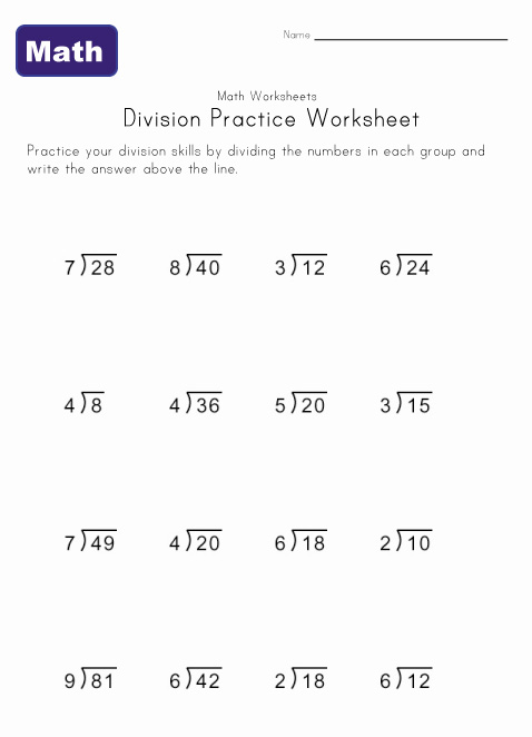 digit division worksheets