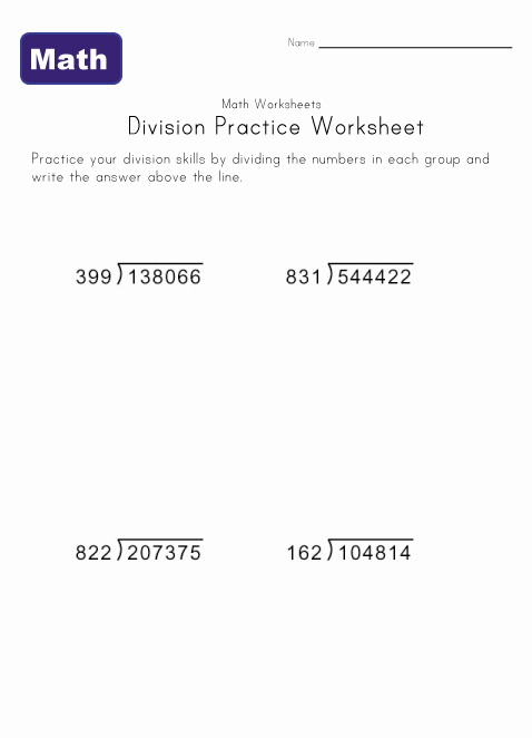 long division worksheet