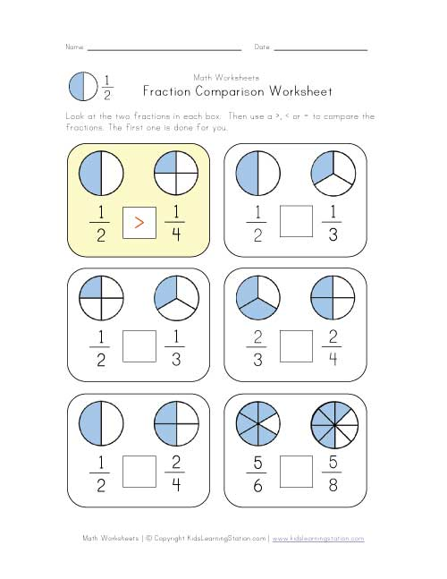 Comparing Fractions With Like Denominators Worksheet – Worksheets Comparing Fractions