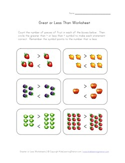 math worksheet : greater than less than  picture comparison  kids learning station : Maths Greater Than Less Than Worksheets