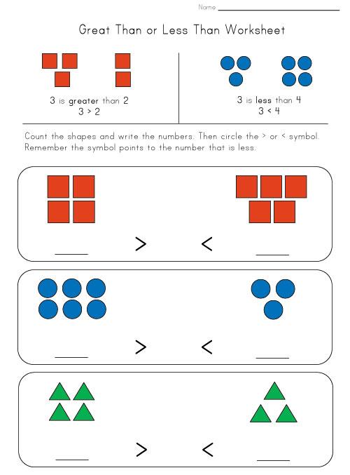 greater less worksheet shapes kids learning station. Black Bedroom Furniture Sets. Home Design Ideas