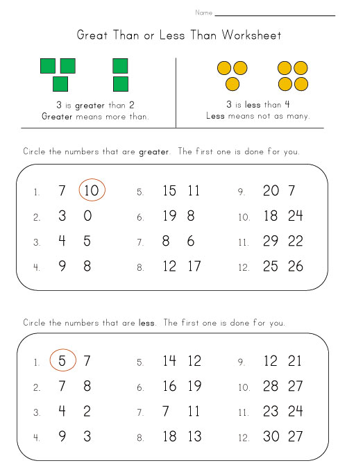 Common Worksheets Worksheets Greater Than Less Than Preschool – Math Less Than Greater Than Worksheets