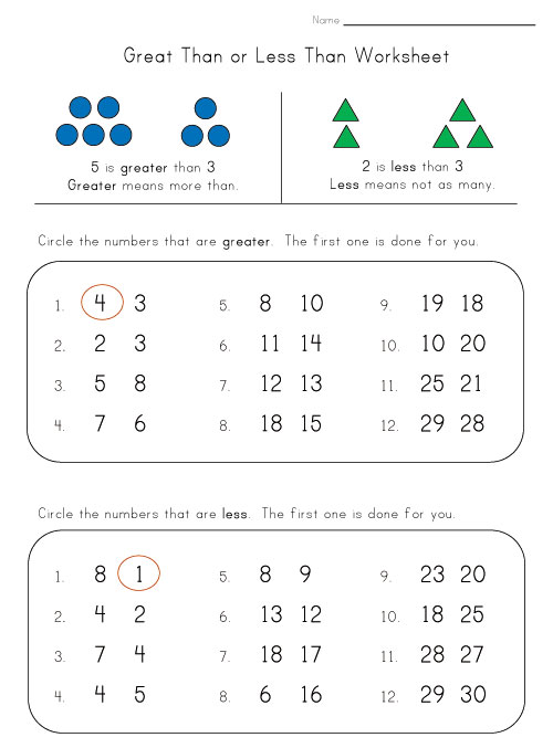 Greater Than Less Than Worksheet 1st Grade And greater than worksheet