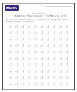 Timed Addition Math Facts Worksheets 0 9
