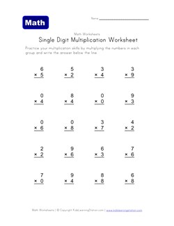 Single Digit Multiplication Worksheets | Kids Learning Station