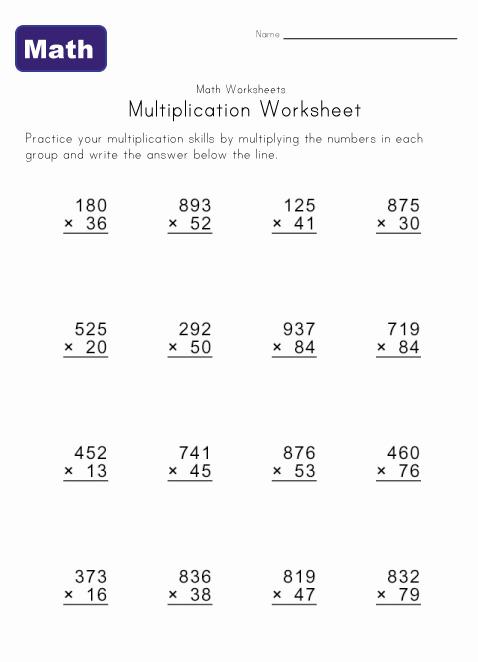 Multiple Digit Multiplication Worksheets