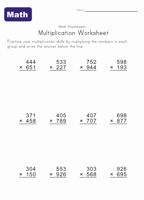 multiply worksheet 4
